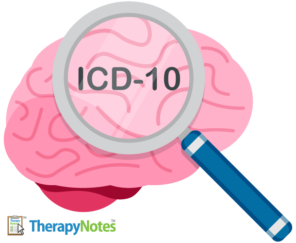 Illustrated brain being examined by a magnifying glass with the text ICD-10 in focus