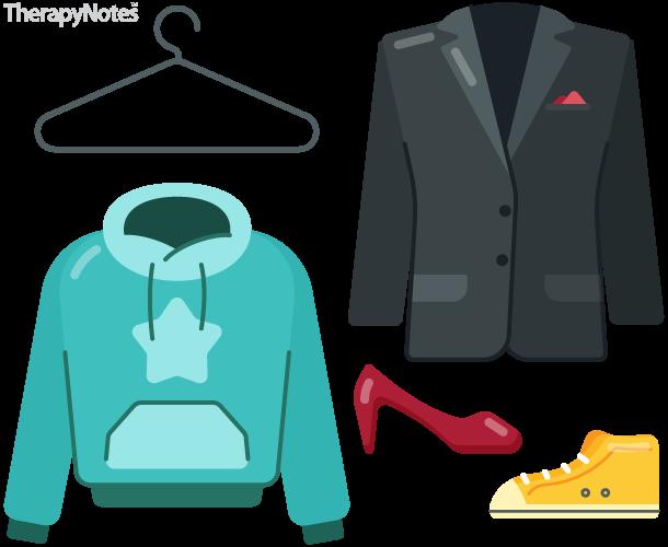Illustrated hanger, hoodie, blazer, high heels, and high-top sneakers