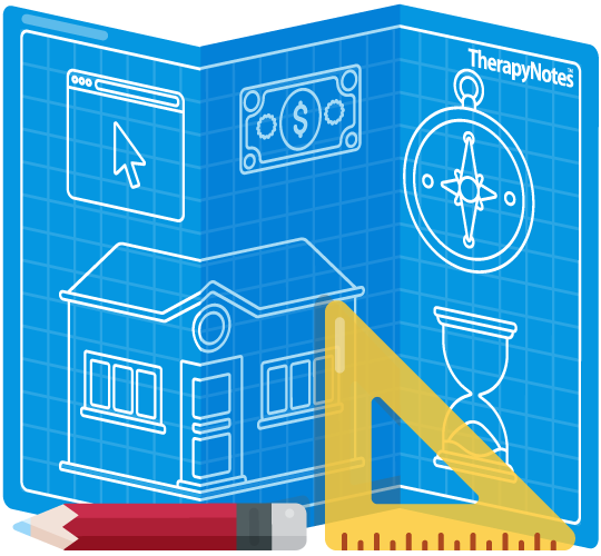 Illustrated blueprint showing a website, money, compass, timer, and building