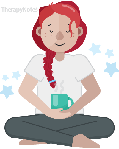 Illustrated person meditating with a steaming mug