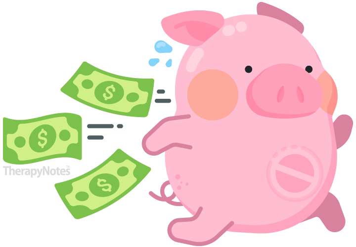 Illustrated piggy bank running with money spilling out