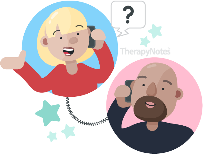 Two illustrated people interviewing via phone