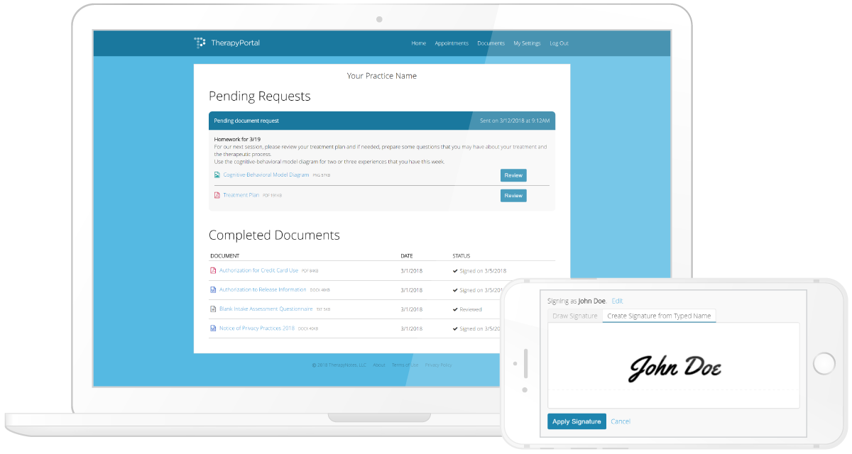 Clients Review and Sign Documents on TherapyPortal