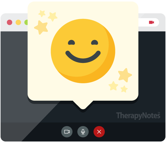 Illustrated smiley face in a chat bubble popping out of a telehealth interface