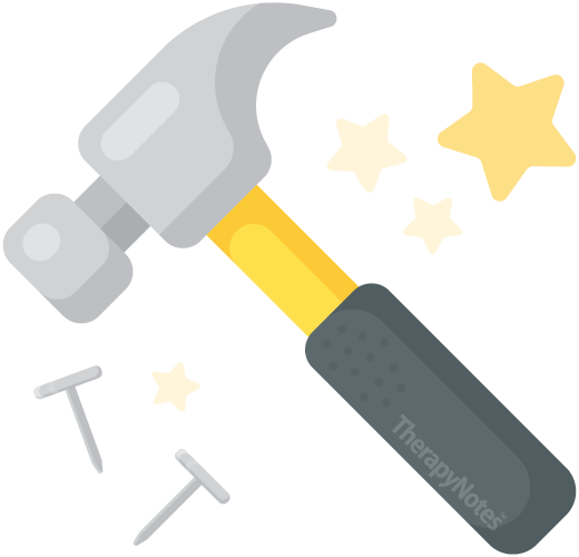 Illustrated hammer and nails